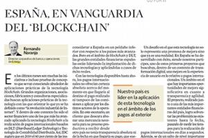 """""""España lidera la aplicación de blockchain"""" tribuna de opinión, en El Economista"""