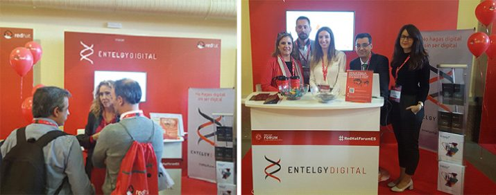 Nuestros expertos de Entelgy Digital en stand Red Hat Forum Madrid